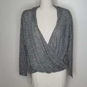 H.I.P Gray Faux Wrap Hoodie Shirt.  Size M